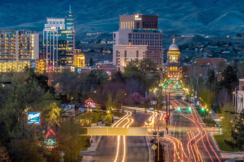 The city of Boise at night