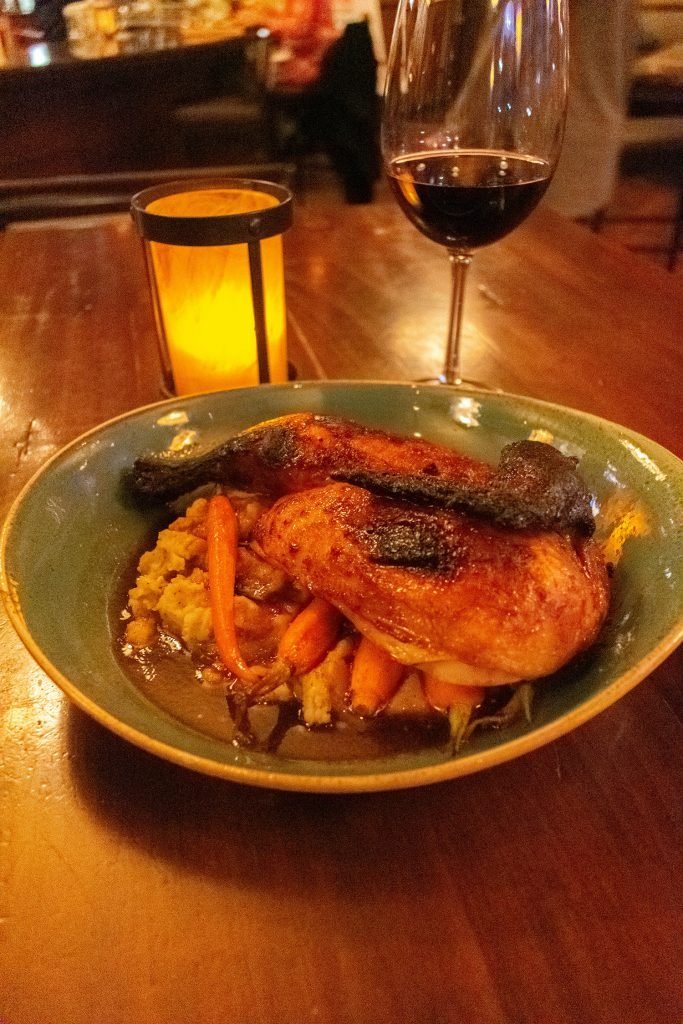 A chicken dinner from Fork, a farm-to-table restaurant
