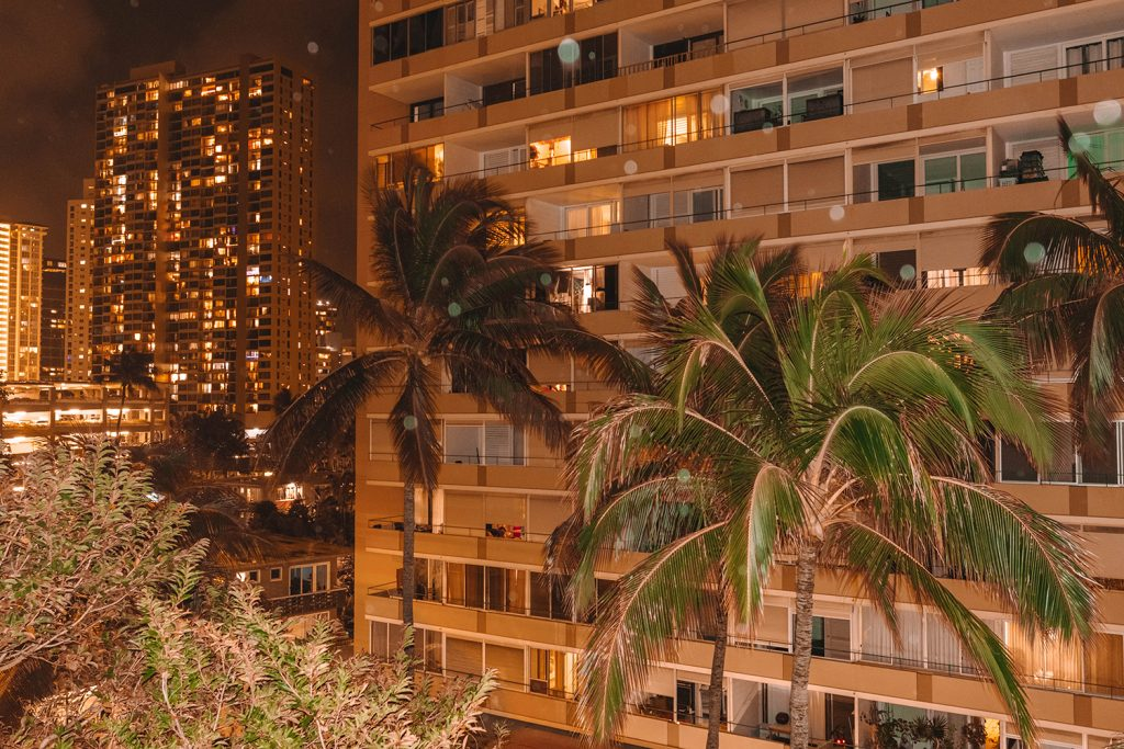 Downtown Honolulu at night