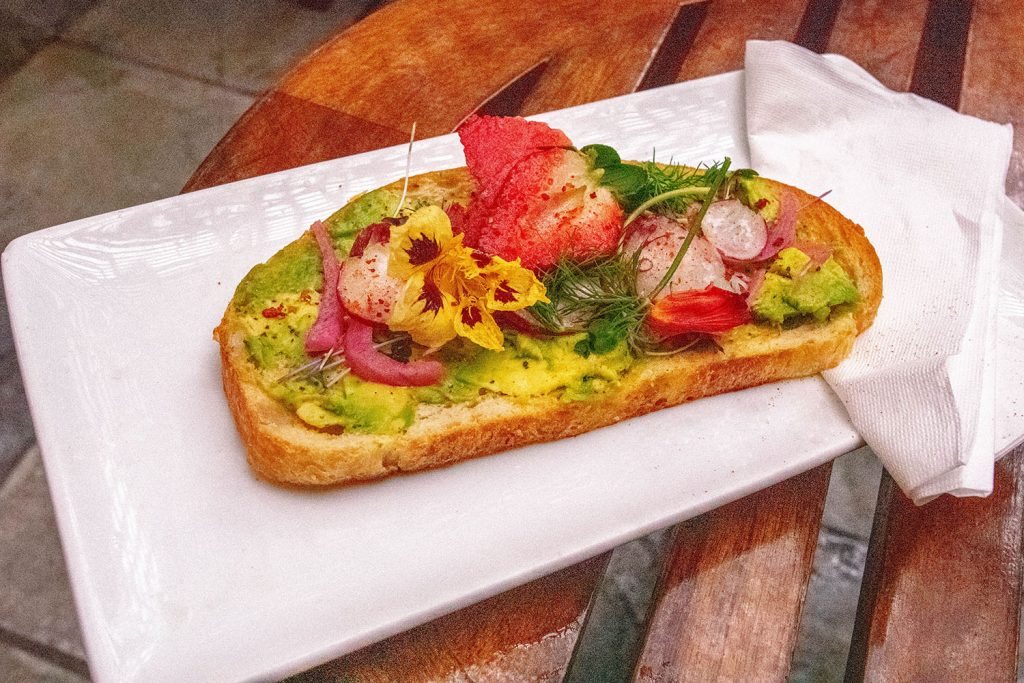 Avocado toast from Paniolo Bar and Cafe at The Equus Hotel
