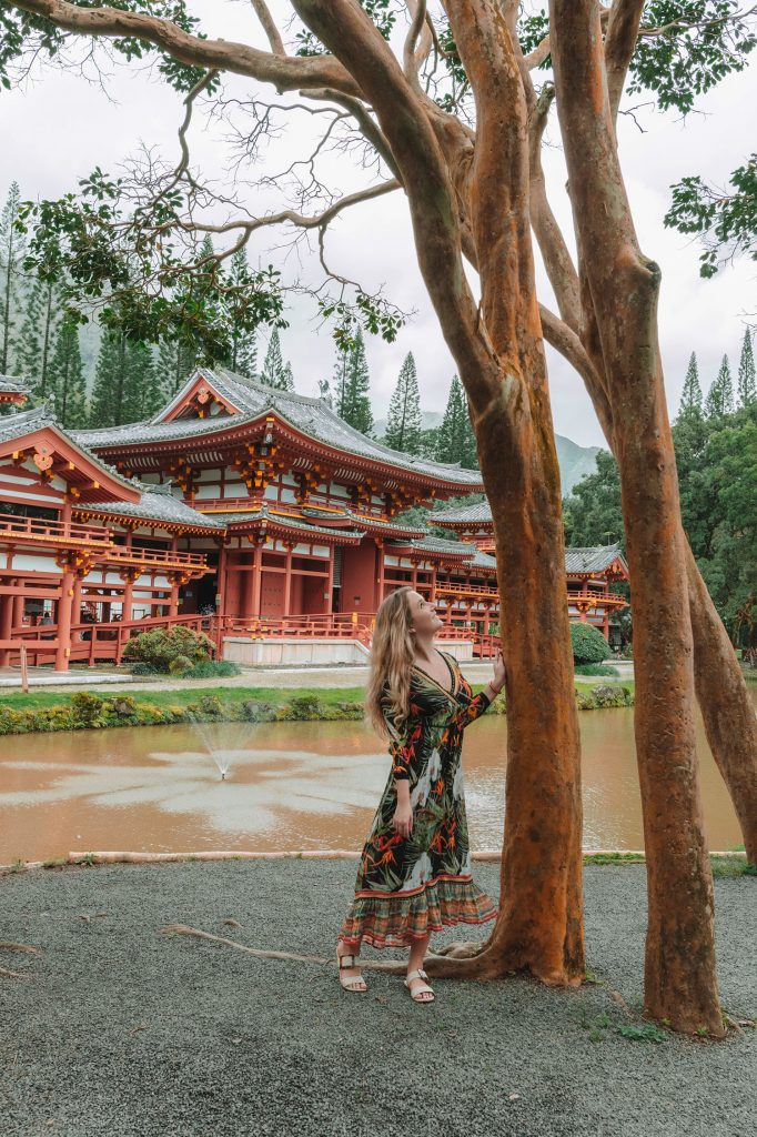 A woman at the Japanese temple on Oahu