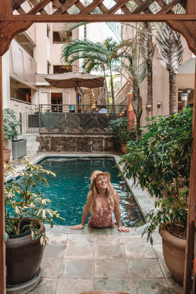 A woman at The Equus Hotel in Honolulu