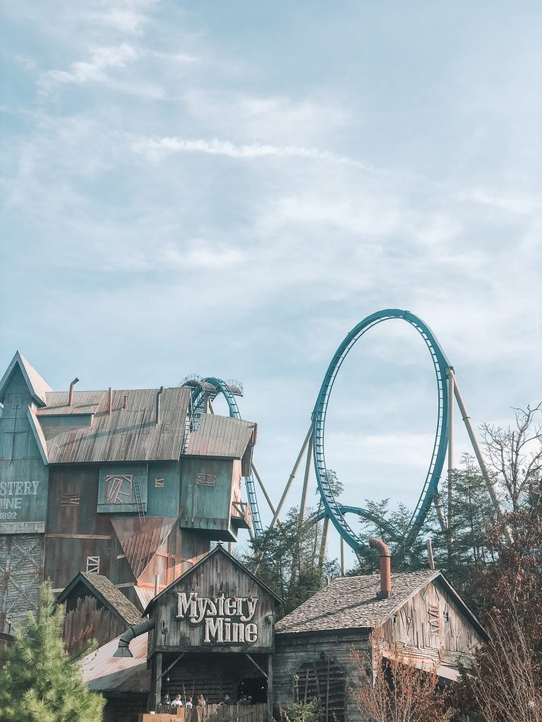 A rollercoaster at Dollywood in Pigeon Forge