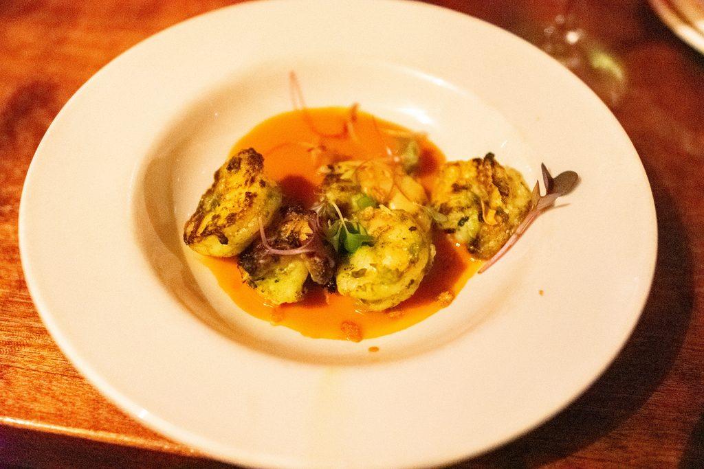 Garlic shrimp tapas from Zambra in Asheville.