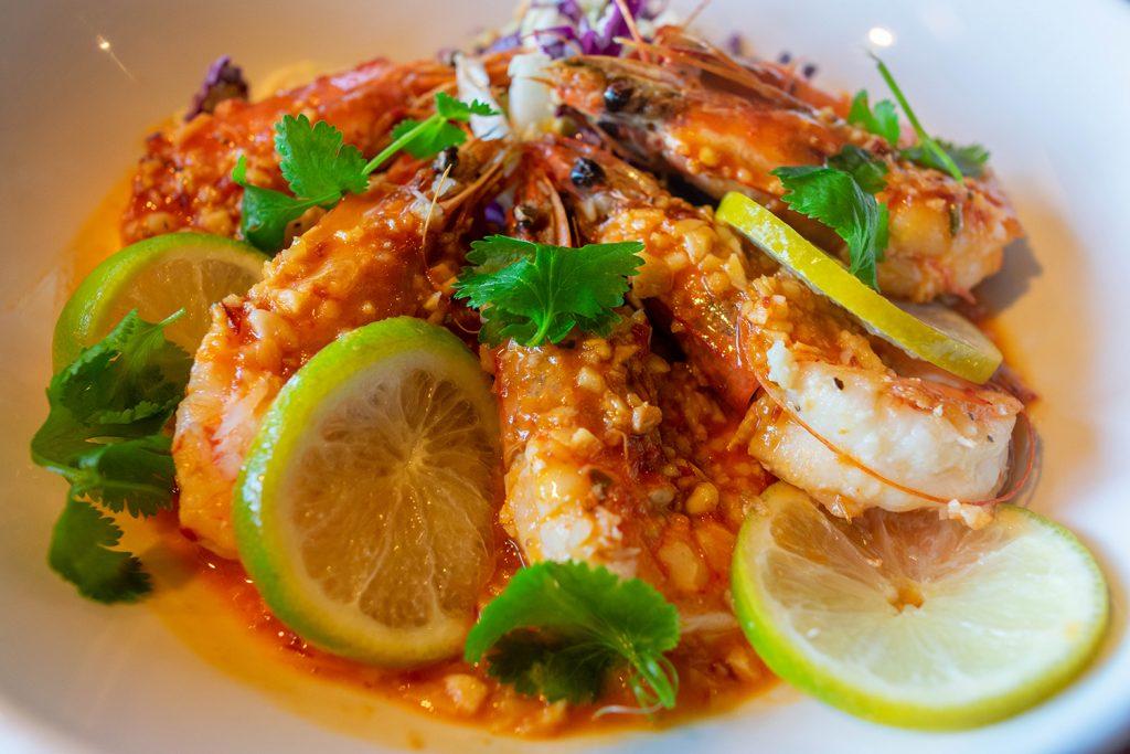Hawaiian garlic shrimp from Hana Ranch Restaurant