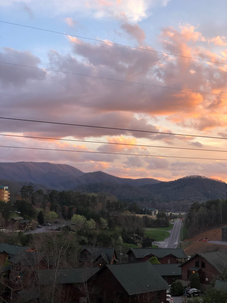 A sunset over Great Smoky Mountains
