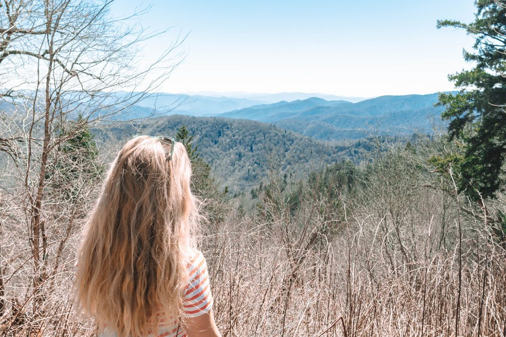 A woman on a hike in the Great Smoky Mountains National Park in North Carolina