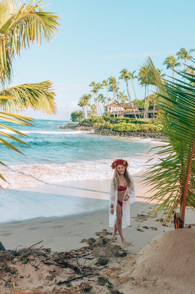 A woman enjoying a vacation on the Hawaiian Islands of Oahu and Maui