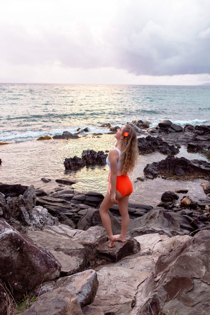 A woman enjoying her time on Napili Bay