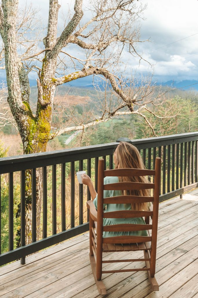 A woman enjoying a mountain escape in Tennessee.