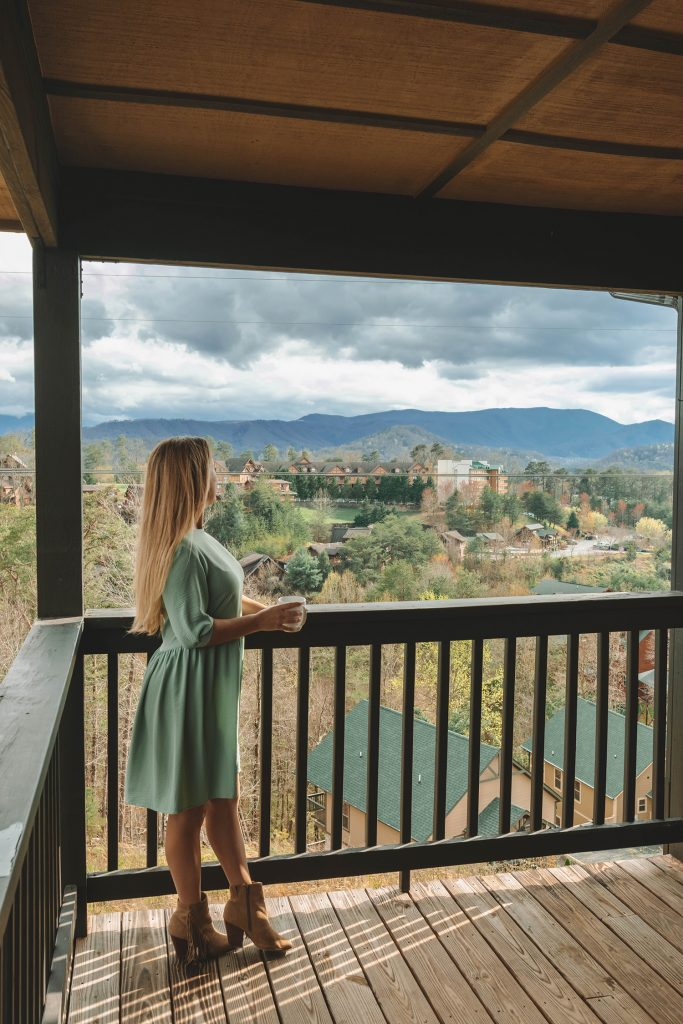 A woman admiring the mountains in Pigeon Forge, Tennessee