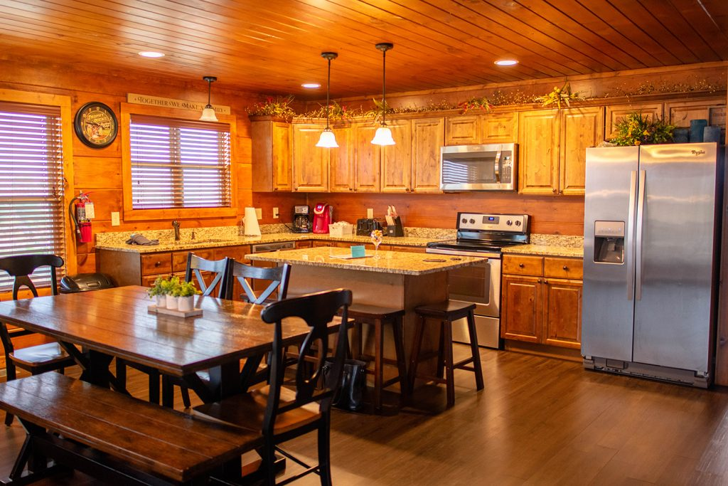 The kitchen at Yourcation Awaits cabin in Tennessee