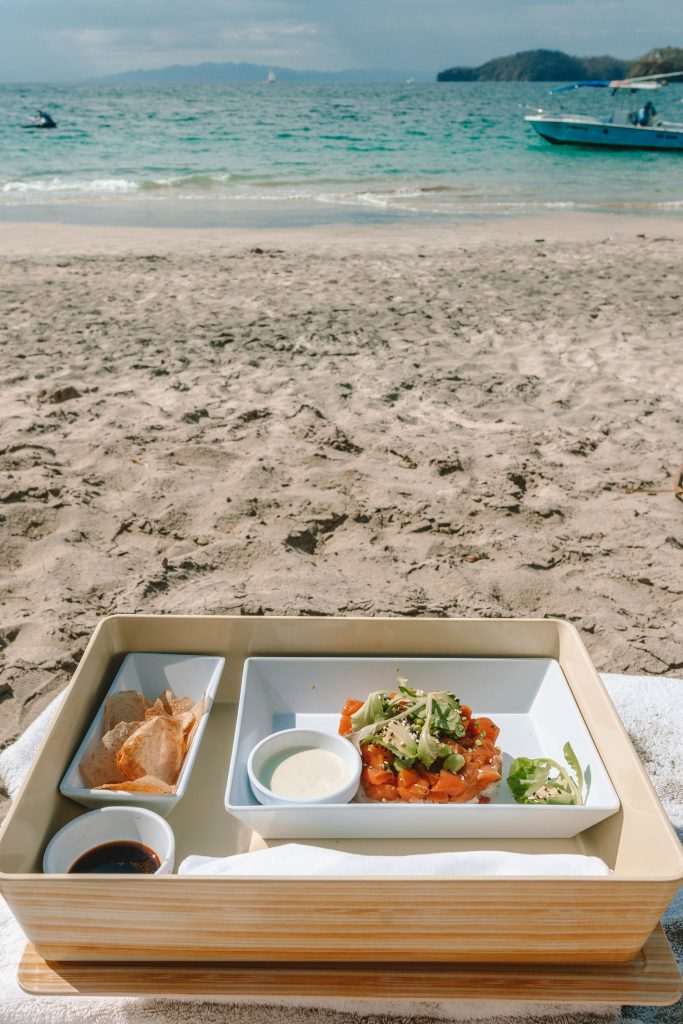 A poke lunch on the beach at Four Seasons Costa Rica