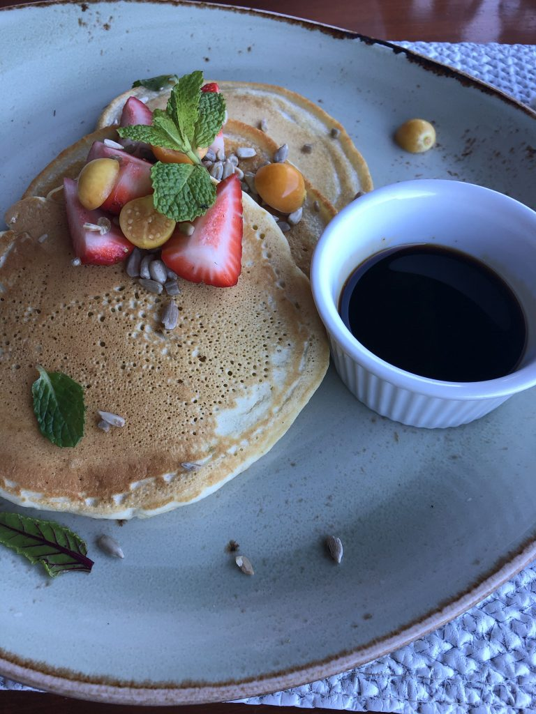 Tropical pancakes for breakfast during 2 days in Monteverde, Costa Rica