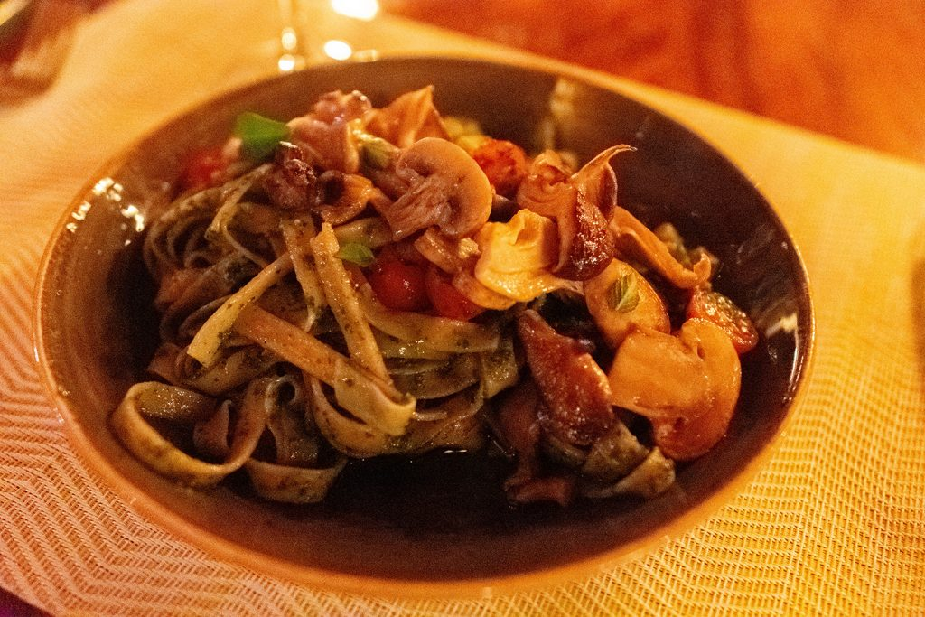 A farm to table pesto pasta dish from Hotel Belmar in Monteverde