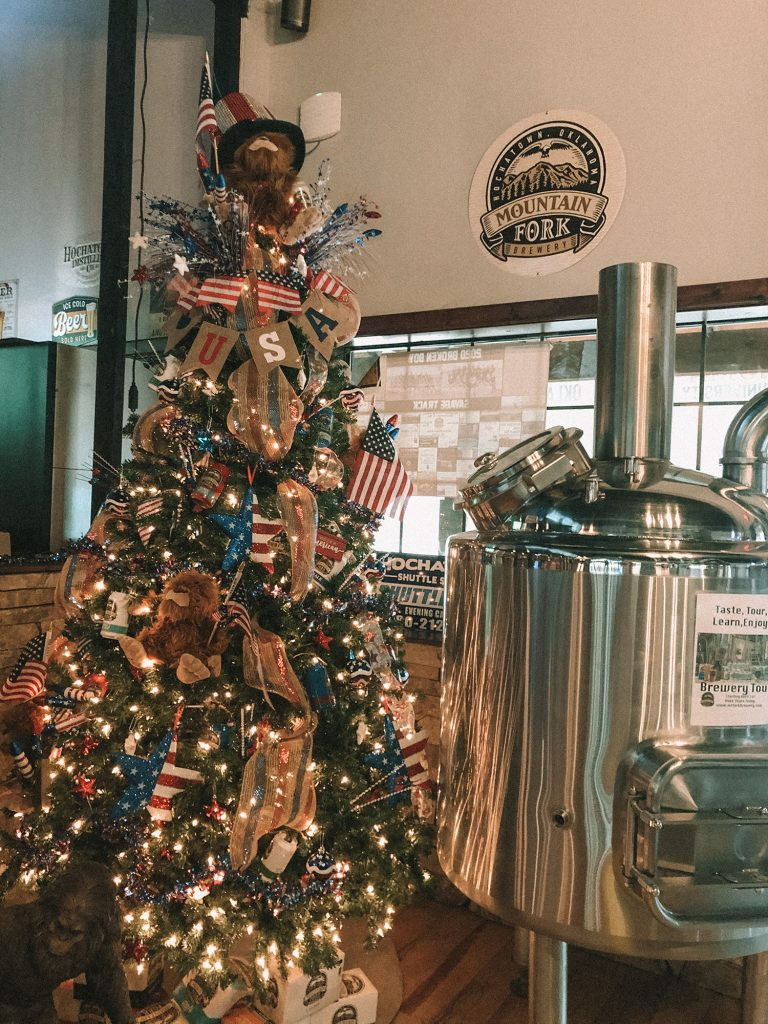 A sasquatch tree at Mountain Fork Brewery in Broken Bow, Oklahoma
