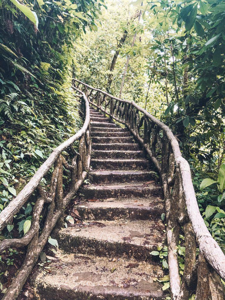 Stairs at Rio Celeste waterfall