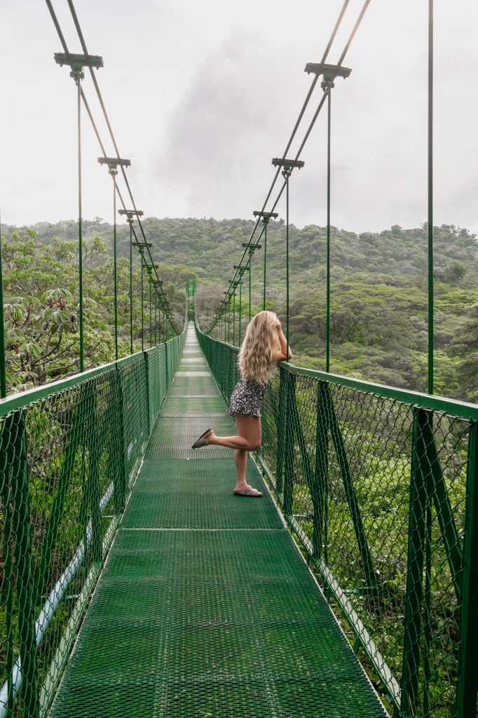 A woman enjoying the hanging bridges at Selvatura Park during 2 days in Monteverde, Costa Rica