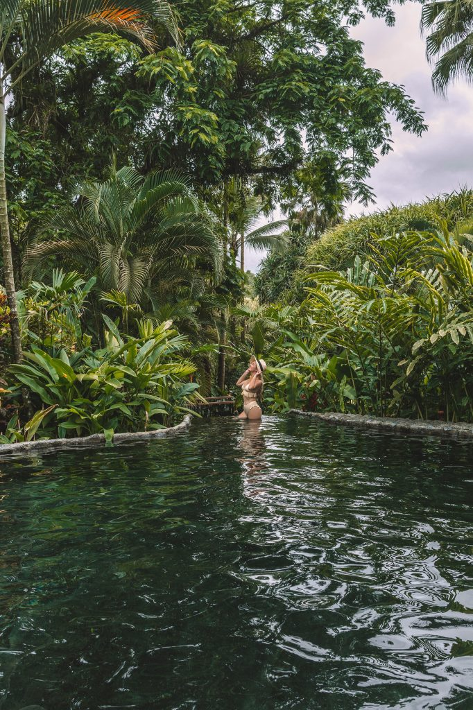 A woman at Tabacon Resort in the La Fortuna and Arenal area