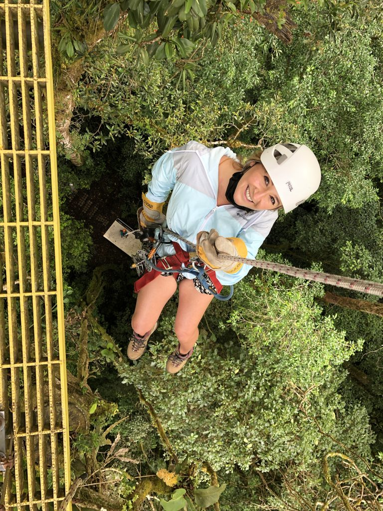 A woman enjoying her canopy tour experience during 2 days in Monteverde, Costa Rica