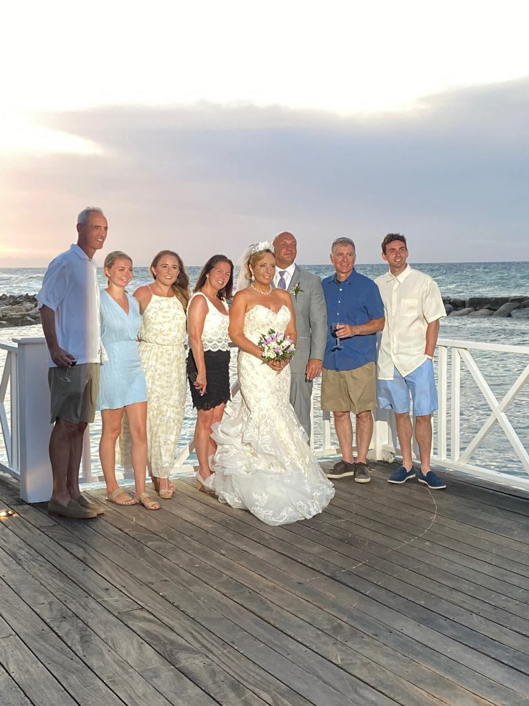 Family at an all inclusive destination wedding