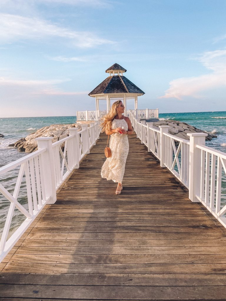 A woman at a destination wedding at an all inclusive in Montego Bay, Jamaica