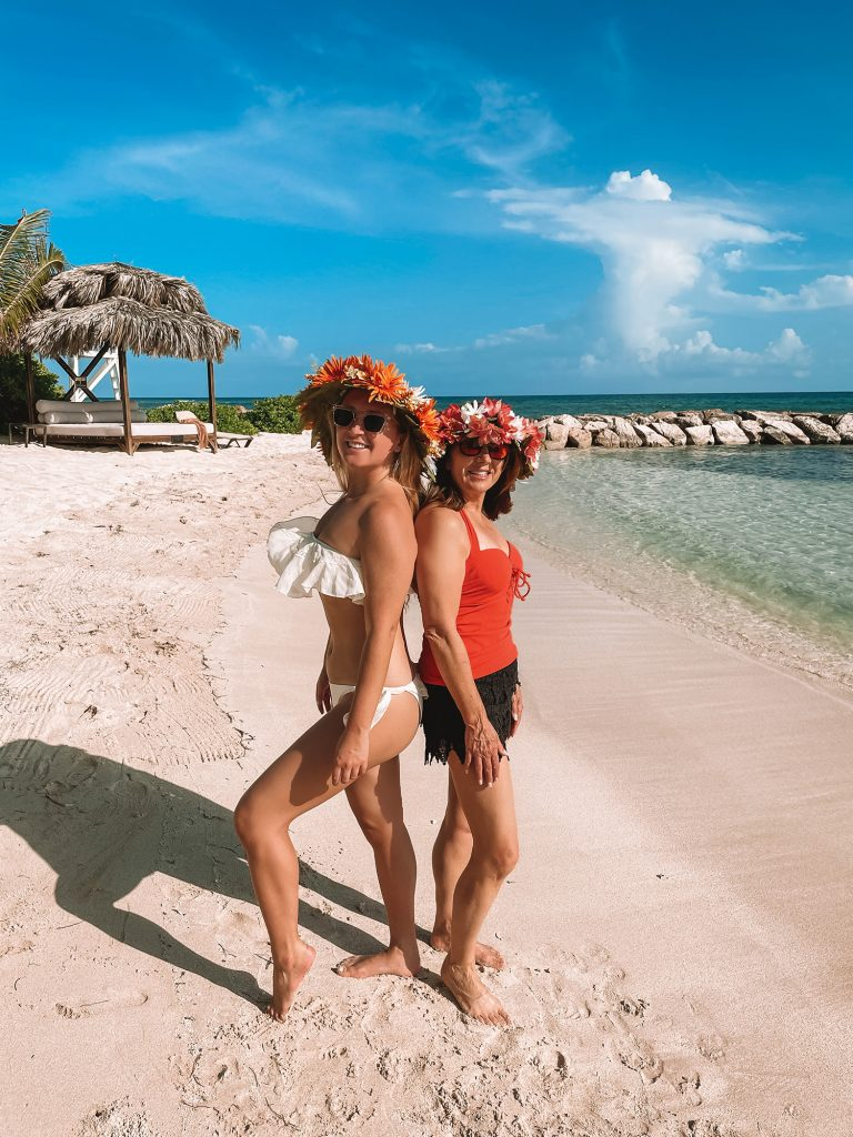 A mother and daughter having a memorable experience at an all inclusive in the Caribbean