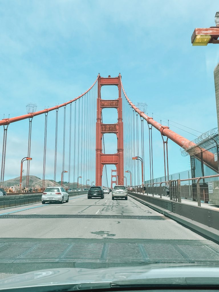 Driving over the Golden Gate Bridge in San Francisco