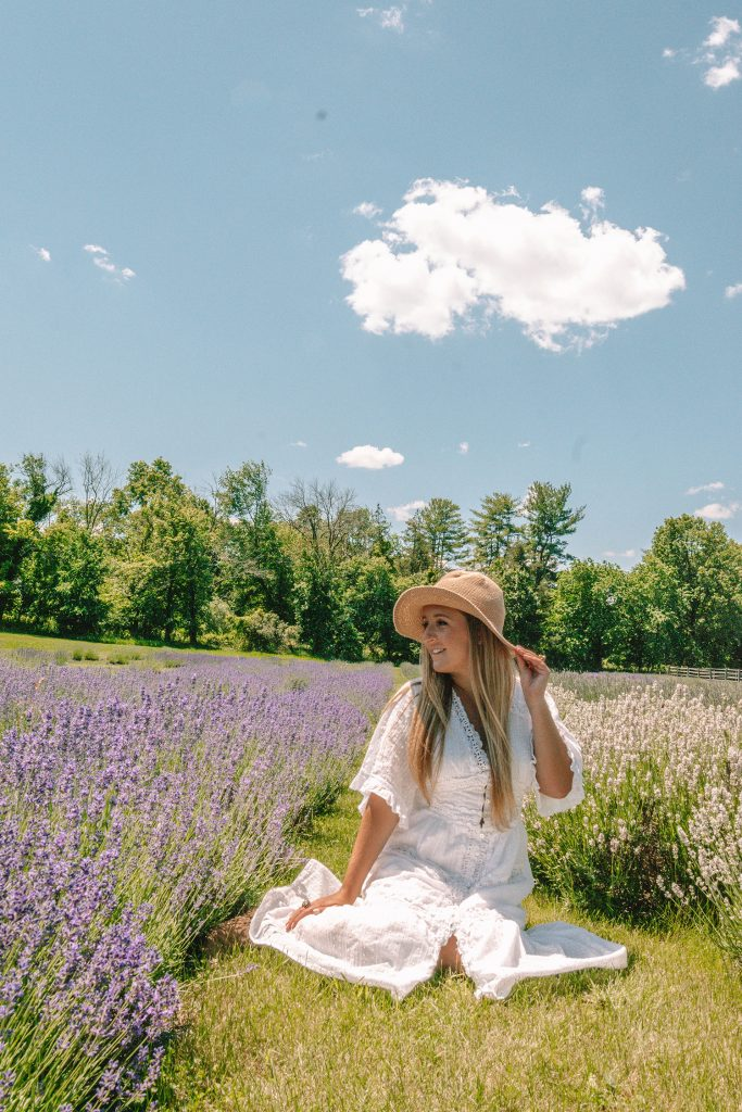A woman at a lavender field in New Jersey