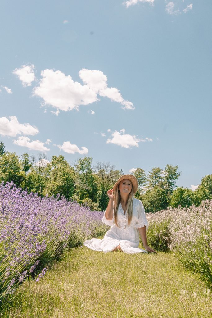 A woman at Hidden Spring Lavender in Somerset County, NJ this summer