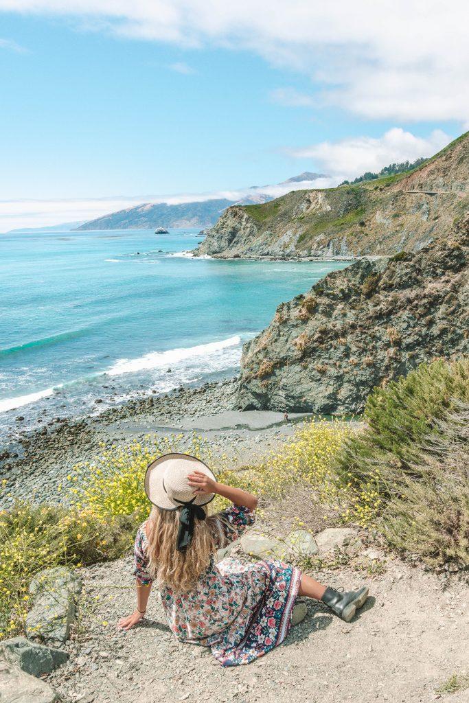 A woman enjoying a California road trip