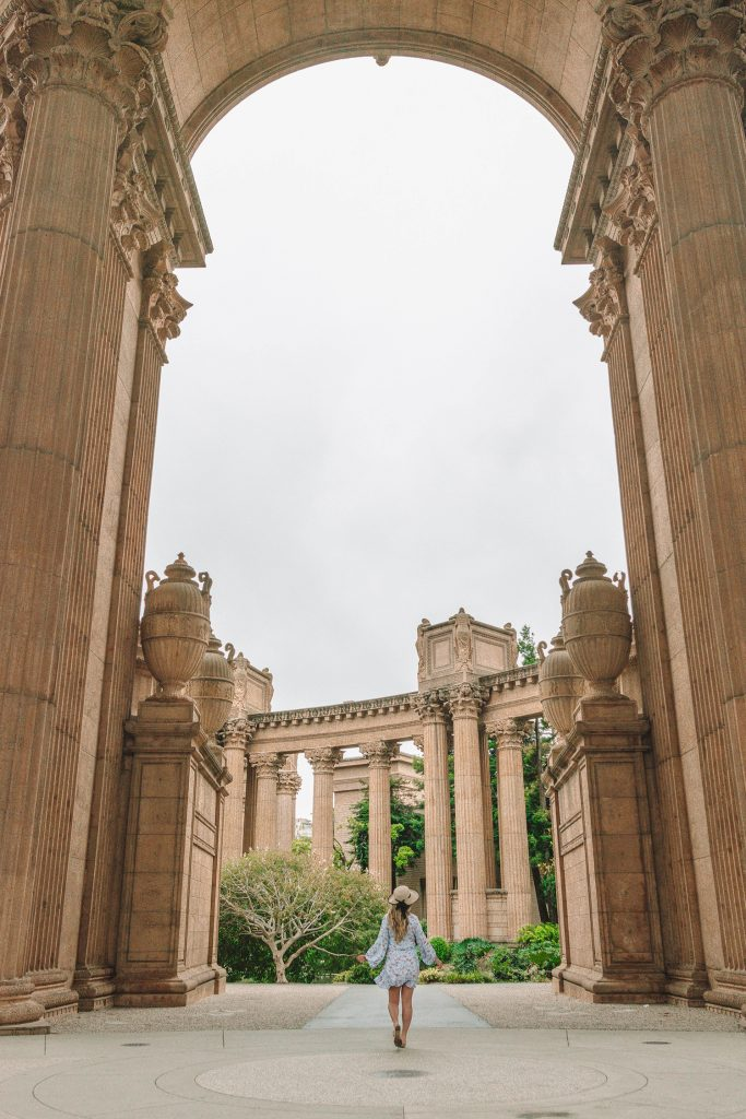 A woman at the Palace of Fine Arts