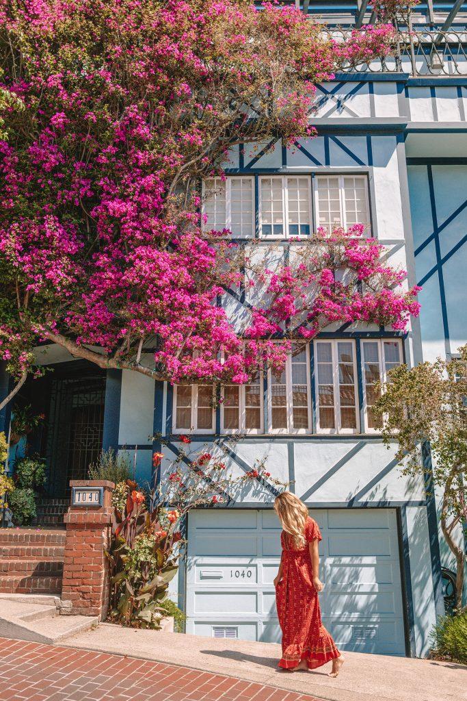 A woman walking on Lombard Street in San Francisco