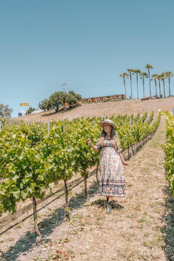 A woman walking through a rosé vineyard at Skyview Los Alamos