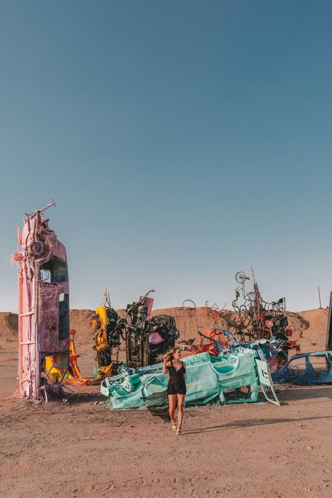 A woman at Slab City on a girls' trip to Palm Springs
