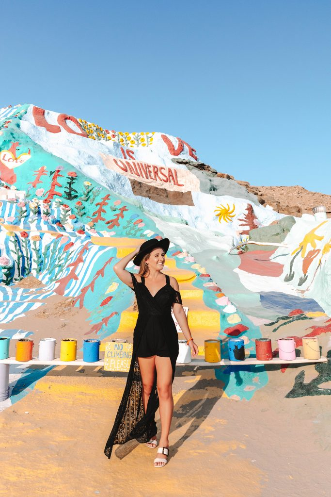 A woman at Salvation Mountain in Slab City, California