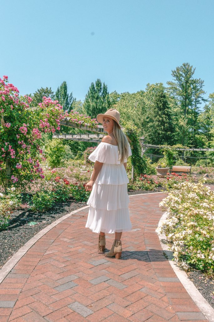A woman strolling around Colonial Park Rose Garden in Somerset County this summer