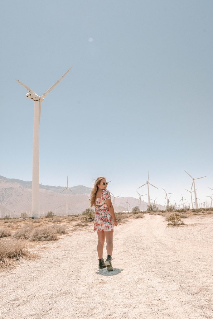 A woman at the windmills in Palm Springs