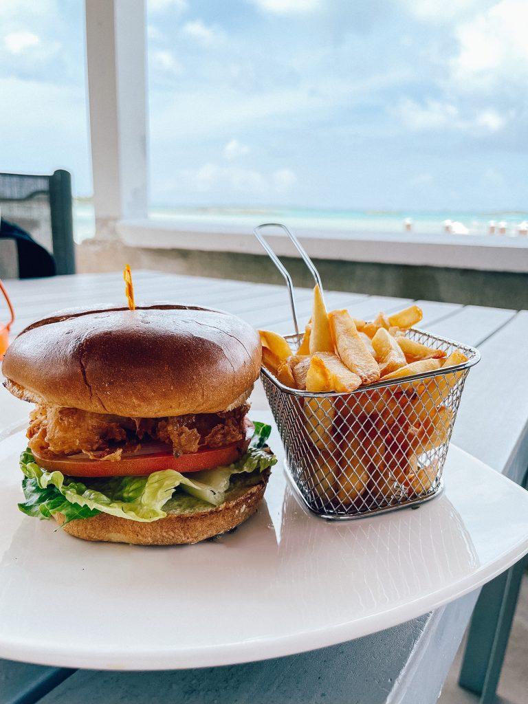 A fish burger from Latitudes at Exuma Beach Resort