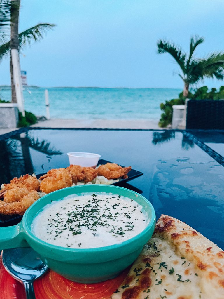 Conch Chowder and coconut shrimp from Splash Bar and Grill