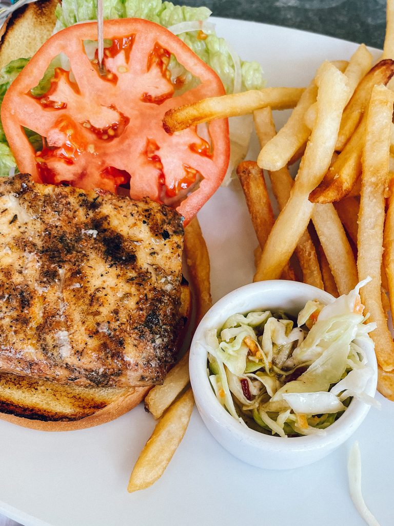 A local Bahamian blackened fish sandwich from Staniel Cay Yacht Club