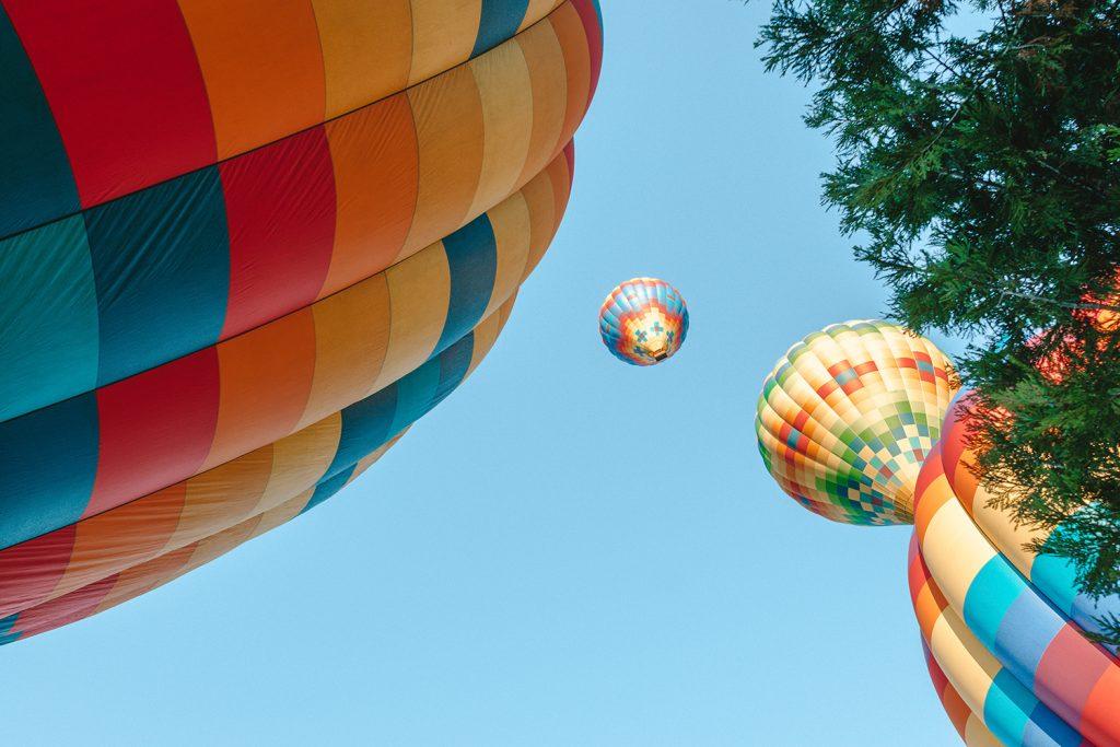 Enjoying a hot air balloon ride during a California Wine Country road trip