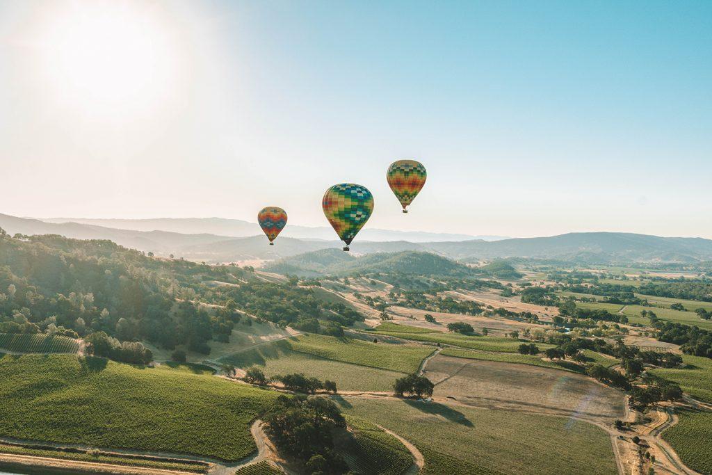 Hot air balloons in Napa Valley, California