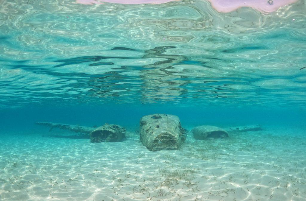 The Sunken Drug Plane off of Staniel Cay in Exuma, Bahamas