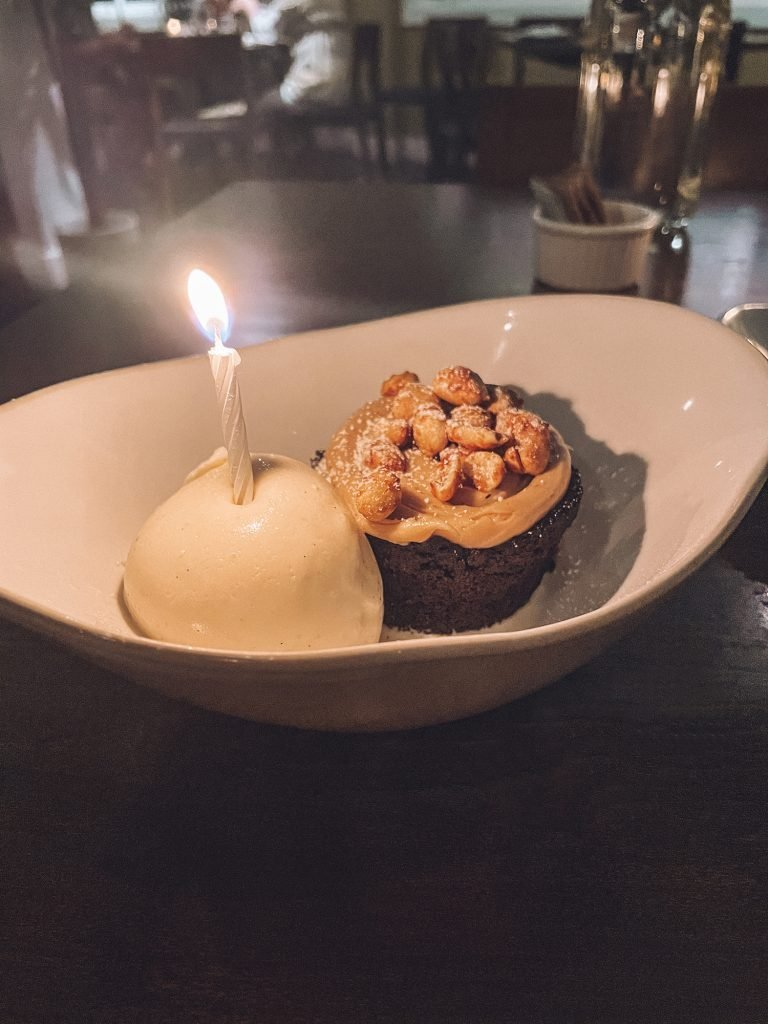 A flourless chocolate birthday cake.
