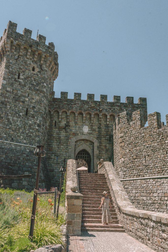 A woman at Castello di Amarosa in Calistoga, California