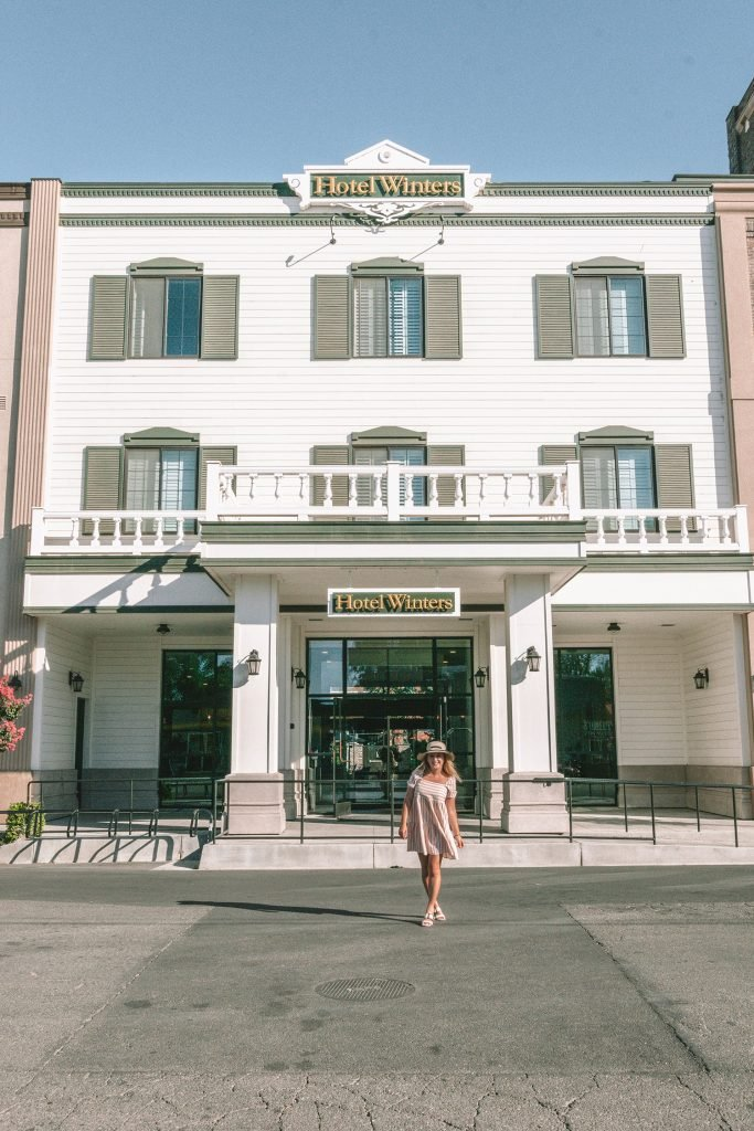 A woman at Hotel Winters in Winters, California