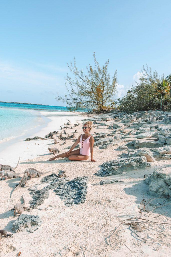 A woman at Iguana Beach in the Exuma Islands