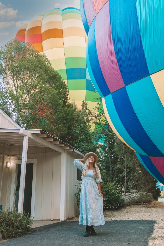 A woman ready to go on a hot air balloon ride in Napa Valley