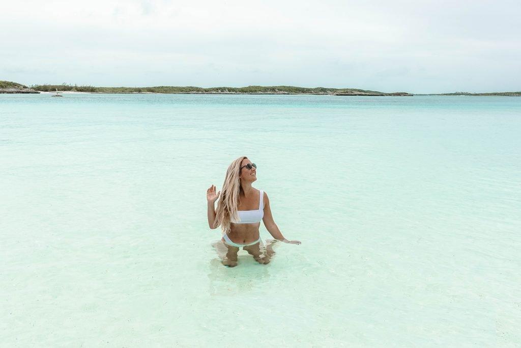 A woman relaxing in Staniel Cay, Exuma, Bahamas